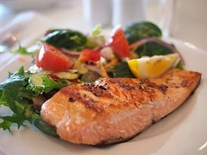 healthy vacation: photo of plate with salmon and salad