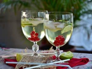 Holiday celebration with two glasses filled with a wine-based cocktail