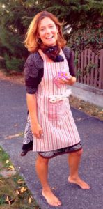 Stella Loichot wearing apron for cooking meal